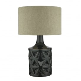 Munro Single Light Ceramic Table Lamp In Dark Green Finish With Natural Linen Shade