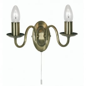 Nador 2 Light Switched Wall Fitting in Antique Brass Finish