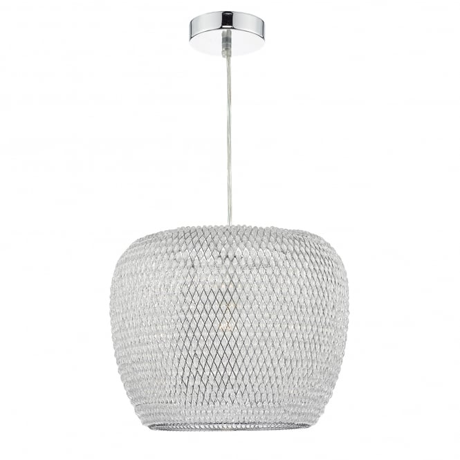 Dar Lighting Naomi Single Light Ceiling Pendant in Polished Chrome Finish Complete with Shade
