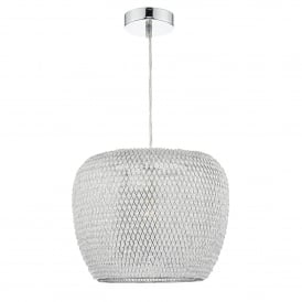 Naomi Single Light Ceiling Pendant in Polished Chrome Finish Complete with Shade