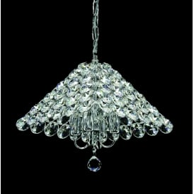 Naples 4 Light Ceiling Pendant In Polished Chrome And Clear Crystal Finish