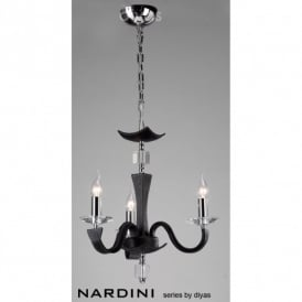 Nardini 3 Light Ceiling Fitting in Black Faux Leather Finish