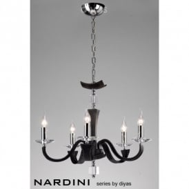 Nardini 5 Light Ceiling Fitting in Black Faux Leather Finish