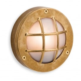 Nautic Single Light Exterior Wall Fitting In Brass Finish With Frosted Glass Shade
