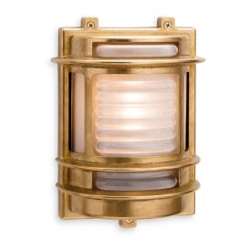 Nautic Single Light Outdoor Wall Fitting In Brass Finish With Frosted Glass Shade