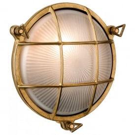 Nautic Single Outdoor Wall Light in Solid Brass Finish with Frosted Glass