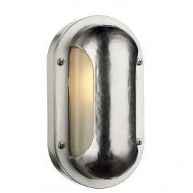 Naval Single Light Outdoor Wall Fitting Made From Solid Brass in Nickel Finish