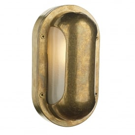 Naval Single Light Outdoor Wall Fitting Made From Solid Brass with Frosted Glass