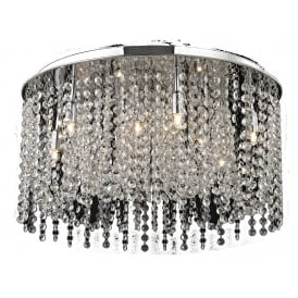Navarre 9 Light Semi Flush Ceiling Fitting in Clear Crystal And Polished Chrome Finish