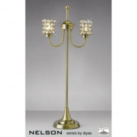 Nelson 2 Light Table Lamp in Antique Brass with Crystal Shades