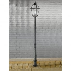 Nerezza Single Light Outdoor Lamp Post In Dark Grey Finish With Clear Acrylic Diffuser