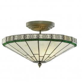 New York 2 Light Semi-Flush Ceiling Fitting In Antique Brass Finish With Weathered Tiffany Glass