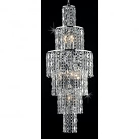 New York 6 Light Crystal Ceiling Pendant with Polished Chrome Frame