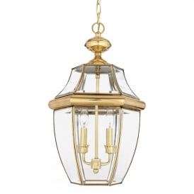 Newbury 2 Light Ceiling Pendant Made from Solid Brass in Polished Brass Finish