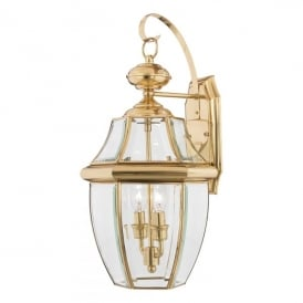 Newbury 2 Light Large Wall Fitting Made from Solid Brass in Polished Brass Finish (Outdoor)