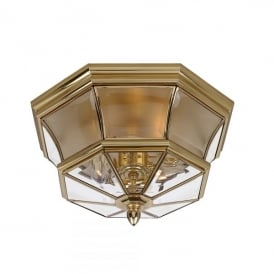 Newbury 3 Light Flush Ceiling Fitting Made from Solid Brass in Polished Brass Finish