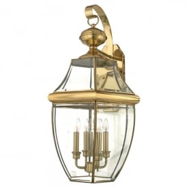 Newbury 4 Light Extra Large Wall Fitting Made from Solid Brass in Polished Brass Finish (Outdoor)