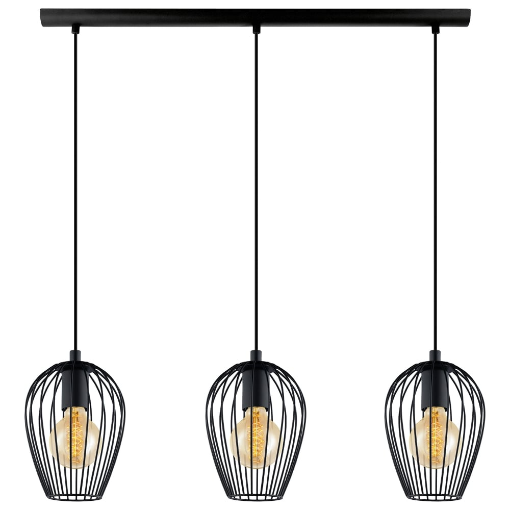 Eglo lighting newtown 3 light ceiling bar pendant in black for Lustre suspension triple
