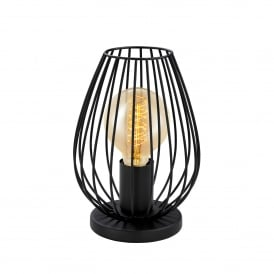 Newtown Single Light Table Lamp in Black Steel Finish
