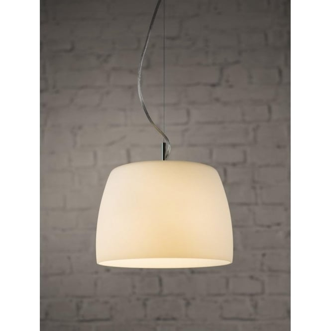 Astro Lighting Nimis 260 Single Light Ceiling Pendant In Polished Chrome Finish With Opal Glass Shade