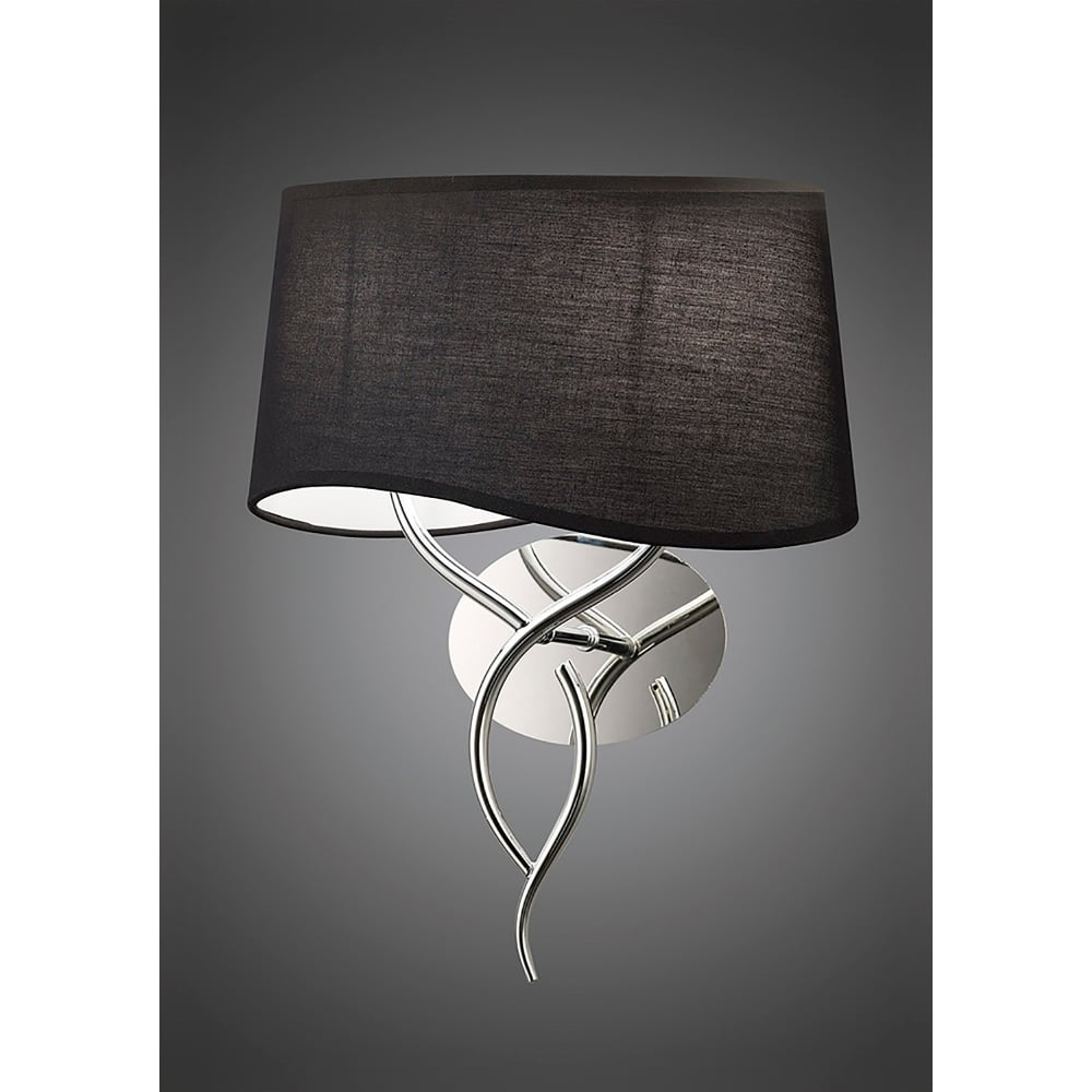 Mantra Ninette 2 Light Low Energy Switched Wall Lamp in Polished Chrome Finish with Black Shade ...