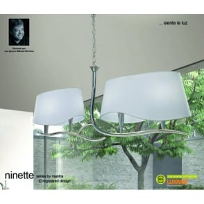 Ninette 4 Light Low Energy Ceiling Pendant in Polished Chrome Finish with Shades