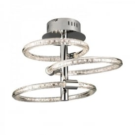 Nolte LED Semi Flush Ceiling Fitting In Polished Chrome Finish