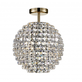 Nord 4 Light Semi Flush Ceiling Fitting In Gold Effect And Clear Crystal Finish