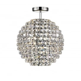 Nord 4 Light Semi Flush Ceiling Fitting In Polished Chrome And Clear Crystal Finish
