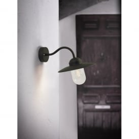 22671003 Luxembourg Single Light Outdoor Wall Fitting In Black Finish With Clear Metal Shade