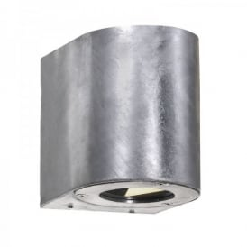 77571031 Canto LED 2 Light Outdoor Up and Down Wall Fixture in Galvanised Finsh
