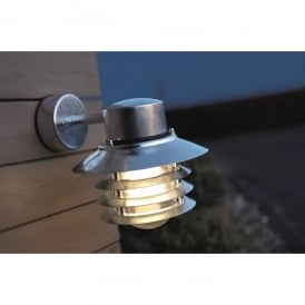 Vejers Single Light Outdoor Wall Fitting In Galvanised Finish With Clear Glass Diffuser
