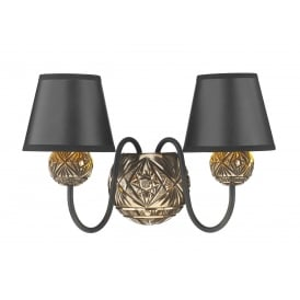 Novella 2 Light Wall Fitting in Black and Bronze