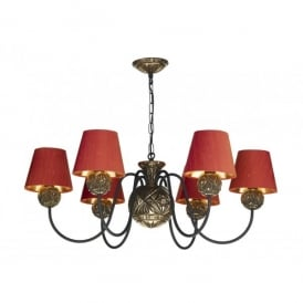 Novella 6 Light Ceiling Fixture in Bronze with 100% Silk Shades
