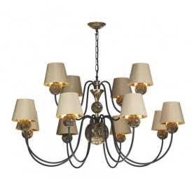 Novella Large 12 Light Ceiling Fixture in Bronze with 100% Silk Shades
