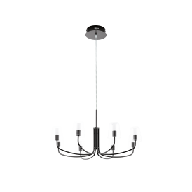 Noventa 1 LED 8 Light Ceiling Pendant In Black Nickel Finish With Clear And Frosted Glass Shades