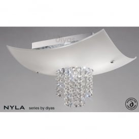 Nyla 4 Light Polished Chrome Ceiling Fixture with Crystal and Frosted Glass