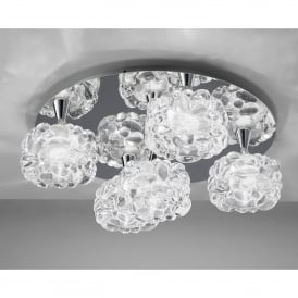 O2 5 Light Round Flush Ceiling Fitting in Polished Chrome Finish with Glass Shades