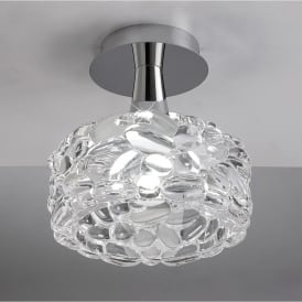 O2 Single Light Low Energy Ceiling Fitting in Polished Chrome Finish with Glass Shade
