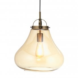1009/1 AB Turua Single Light Ceiling Pendant In Antique Brass Finish With Amber Glass Shade