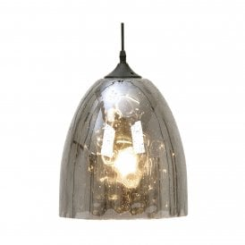 3147 LG Oriata Single Light Large Ceiling Pendant With Smoked Glass Rain Effect Shade