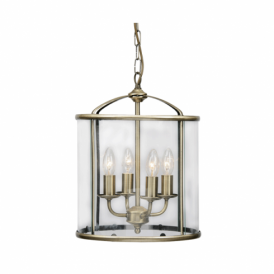 351/4 AB Fern 4 Light Ceiling Pendant in Antique Brass