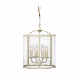 351/4 CG Fern 4 Light Lantern Ceiling Pendant in Cream and Gold
