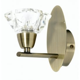 3921/1AB Alamas Single Light Wall Fitting In Antique Brass And Crystal Glass Finish