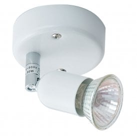 4001 WH Bas Single Light Spot Light in White and Chrome Finish