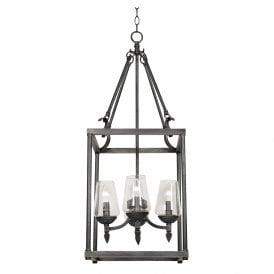 4417/4 BS Corfe 4 Light Ceiling Pendant In Silver Brushed Black Finish With Clear Glass Shades