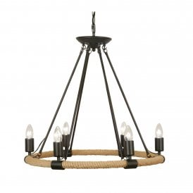 4671/6 Corde 6 Light Ceiling Pendant In Black Finish With Rope Detail