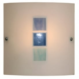 511 BU Muro White Glass Wall Fitting With Blue Decoration