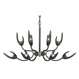 732/6+6 TI Flama 12 Light Ceiling Pendant In Titanium Plate Finish