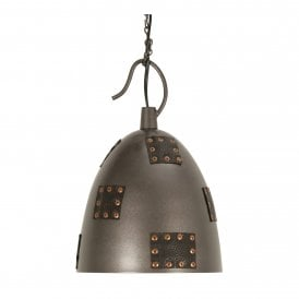 8023 SM Callisto Single Light Metal Ceiling Pendant In Bronze Finish With Studded Leather Detail